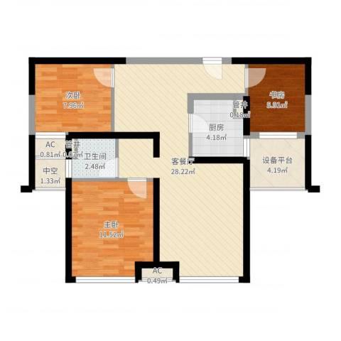 上海滩大宁城3室2厅1卫1厨84.00㎡户型图