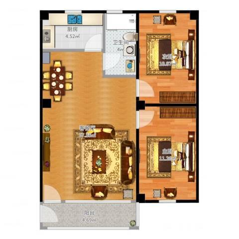 禺雅园2室2厅1卫1厨78.00㎡户型图