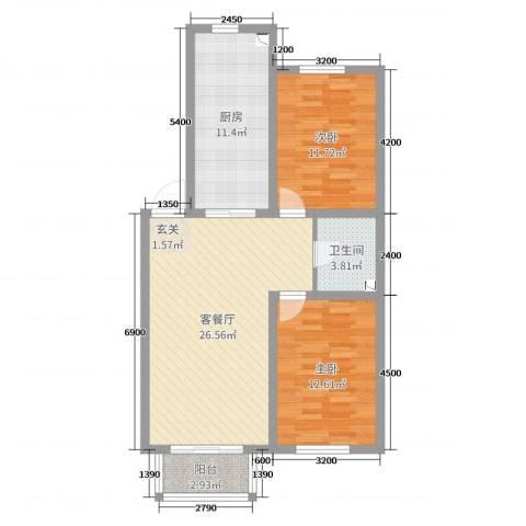 南风新苑2室2厅1卫1厨91.00㎡户型图