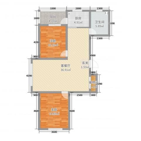 华厦・馨苑2室2厅1卫1厨106.00㎡户型图