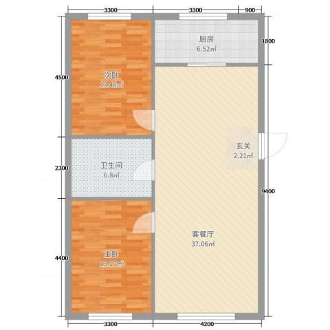 万有佳园2室2厅1卫1厨115.00㎡户型图