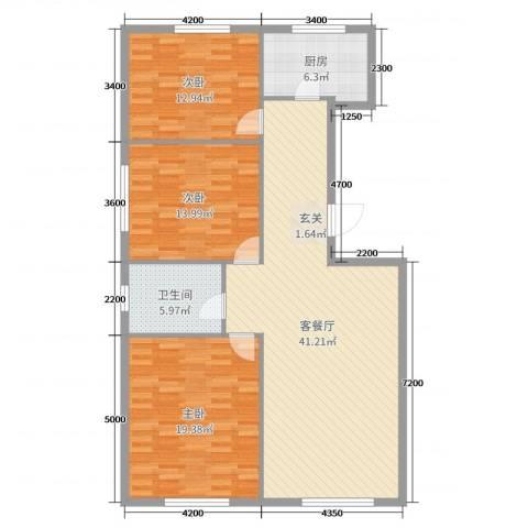 万有佳园3室2厅1卫1厨132.00㎡户型图