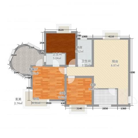 易道郡玫瑰公馆3室2厅2卫1厨109.00㎡户型图