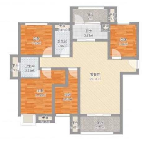 万盛凤凰城4室2厅2卫1厨107.00㎡户型图