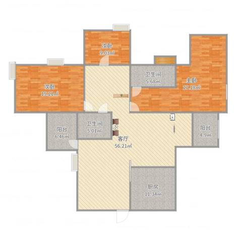 嘉和苑3室1厅2卫1厨182.00㎡户型图