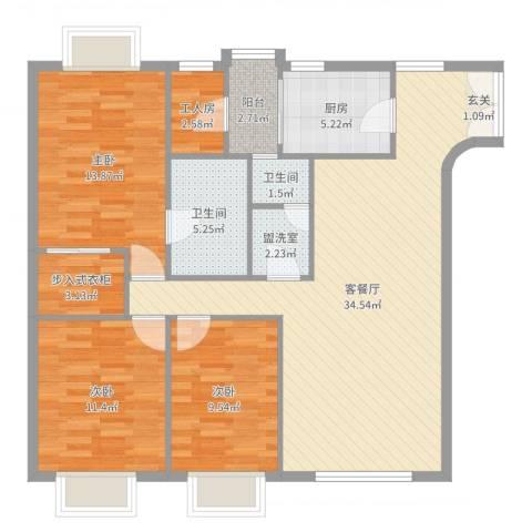 都汇豪庭3室2厅2卫1厨115.00㎡户型图