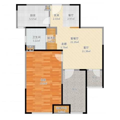 浦发御园1室2厅1卫1厨75.00㎡户型图