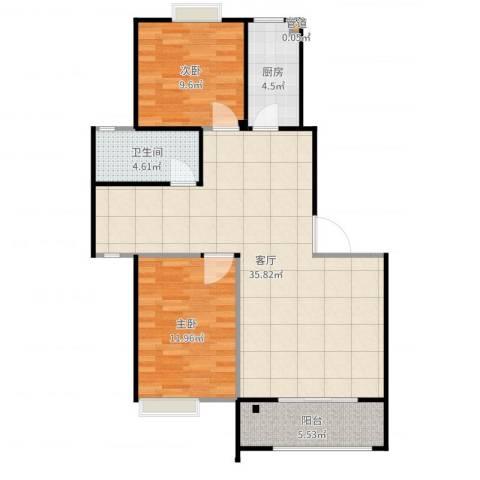 甫澄熙岸2室1厅1卫1厨90.00㎡户型图