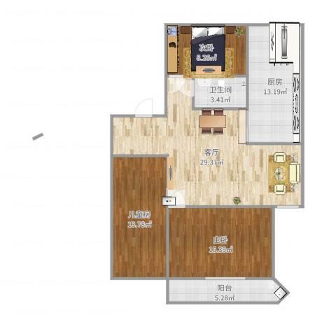 玉兰新村3室1厅1卫1厨111.00㎡户型图