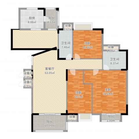 东泰花园康怡居3室2厅2卫1厨219.00㎡户型图
