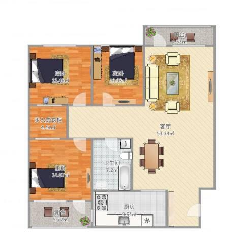 白鹤花苑3室1厅1卫1厨154.00㎡户型图