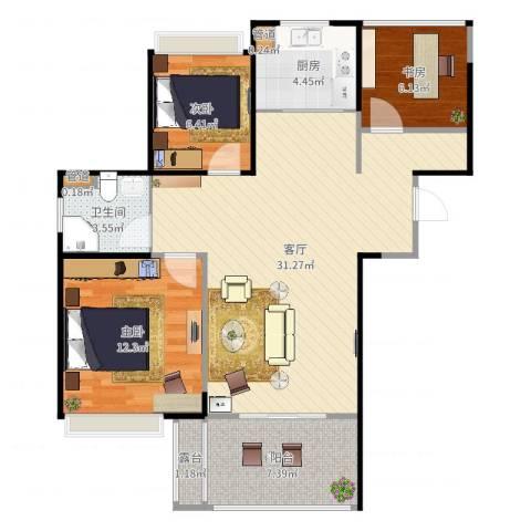 朗诗未来街区3室1厅1卫1厨91.00㎡户型图
