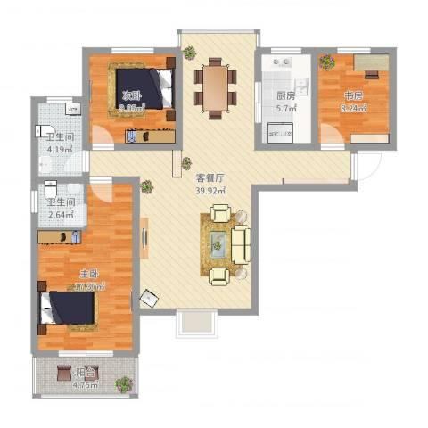 熙城都会3室2厅2卫1厨116.00㎡户型图