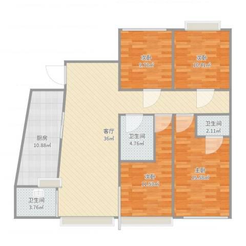 骊马豪城4室1厅3卫1厨131.00㎡户型图