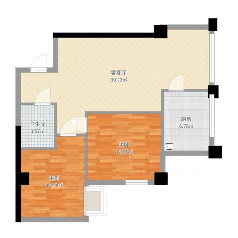 恒佳格调2室2厅1卫1厨81.00㎡户型图