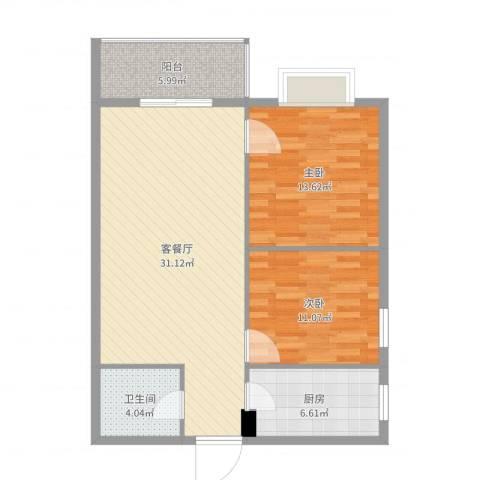 金色城市2室2厅1卫1厨91.00㎡户型图