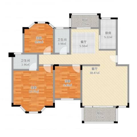 南沙碧桂园3室1厅2卫1厨121.00㎡户型图