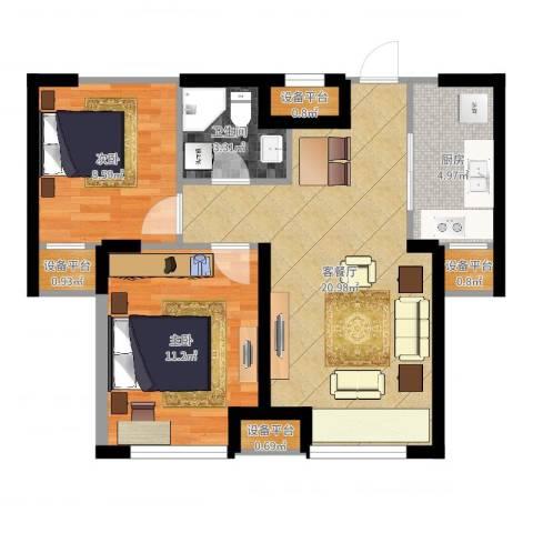 华府丹郡2室2厅1卫1厨65.00㎡户型图