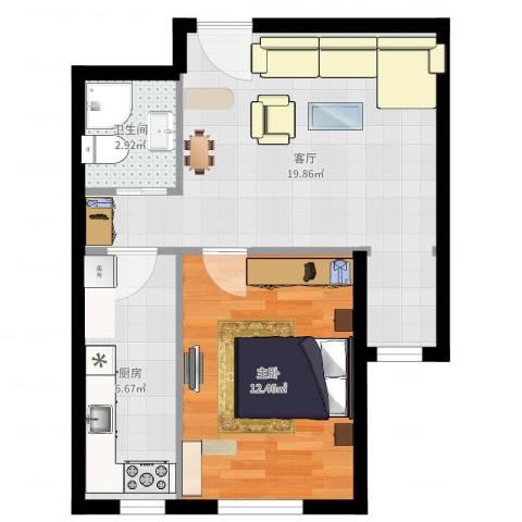 保利罗兰香谷二期1室1厅1卫1厨52.00㎡户型图