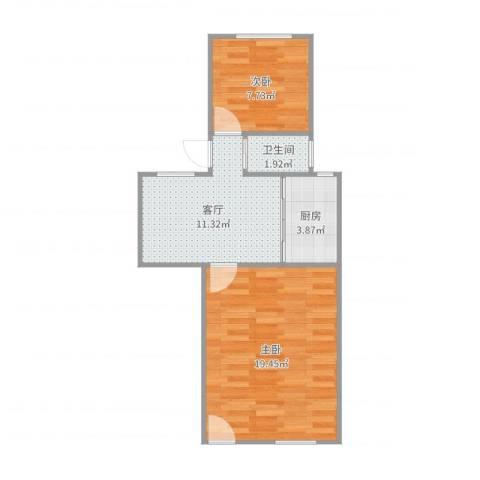 银城花园2室1厅1卫1厨55.00㎡户型图
