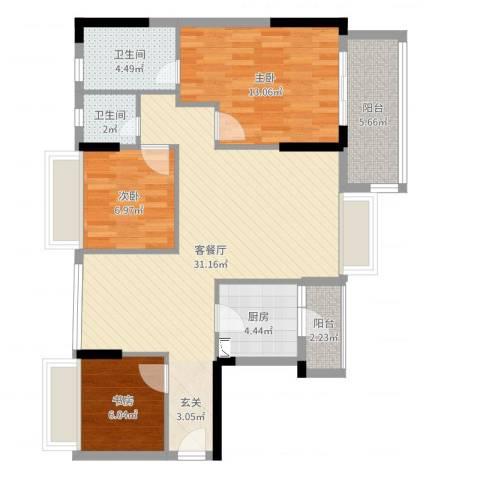旭日领御3室2厅2卫1厨95.00㎡户型图