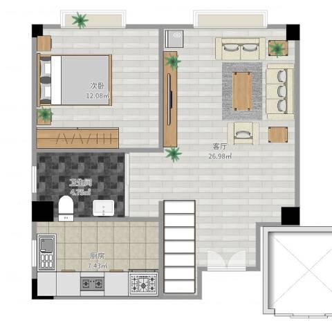 小岛花园1室1厅1卫1厨64.00㎡户型图