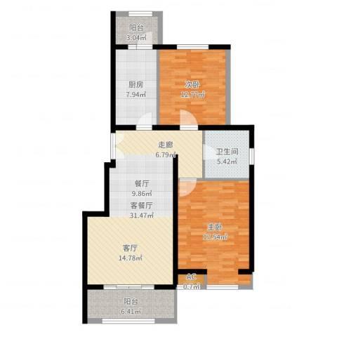 首开国风润城2室2厅1卫1厨107.00㎡户型图