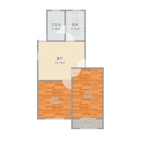 龙柏五村2室1厅1卫1厨60.00㎡户型图