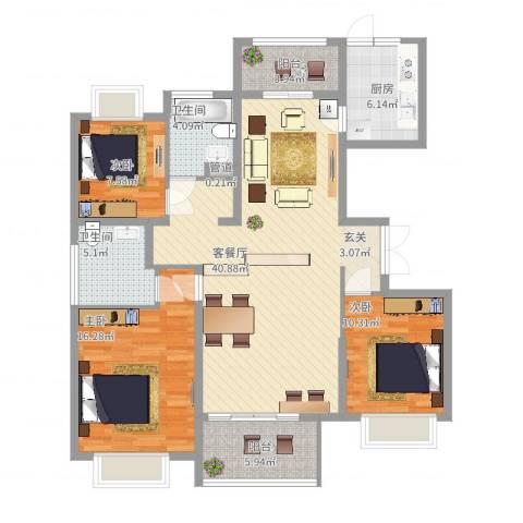 淮矿馥邦天下3室2厅2卫1厨143.00㎡户型图