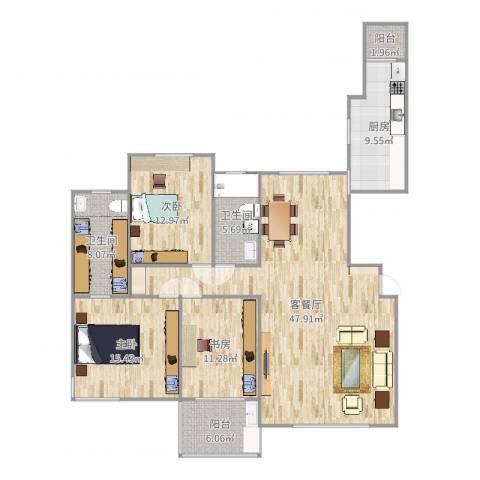 金广东海岸3室2厅2卫1厨154.00㎡户型图