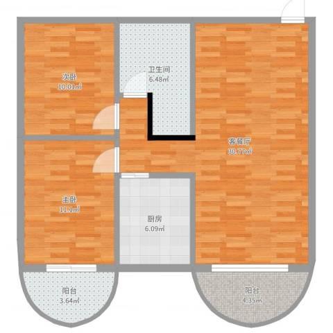 福津大街2室2厅1卫1厨91.00㎡户型图