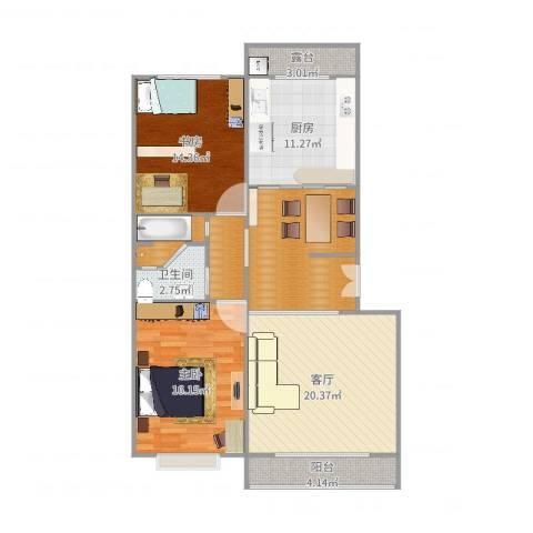 美佳花园2室1厅2卫1厨113.00㎡户型图