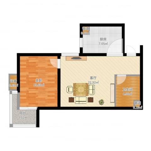 武阳丽园1室1厅4卫1厨66.00㎡户型图