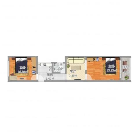 欧阳路364弄小区2室1厅1卫1厨52.00㎡户型图