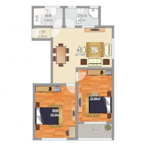 罗山七村2室1厅1卫1厨80.00㎡户型图