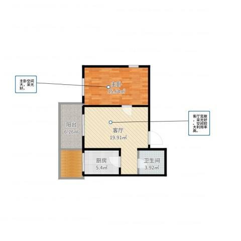 华远水木清华1室1厅1卫1厨69.00㎡户型图