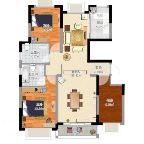 金鑫家园3室2厅2卫1厨108.00㎡户型图