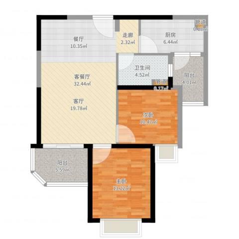 恒大御景2室2厅1卫1厨96.00㎡户型图