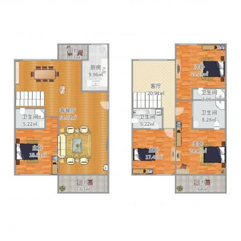 东卉花园4室3厅4卫1厨272.00㎡户型图
