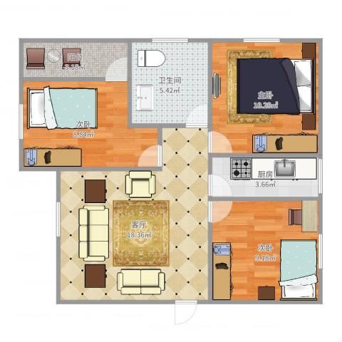 龙城花园7164843室1厅1卫1厨74.00㎡户型图