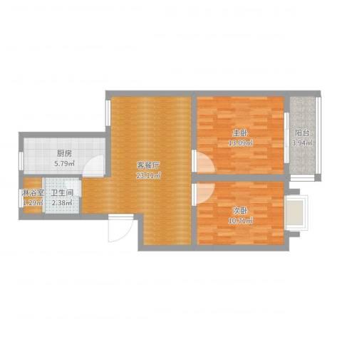东景花园2室2厅1卫1厨75.00㎡户型图