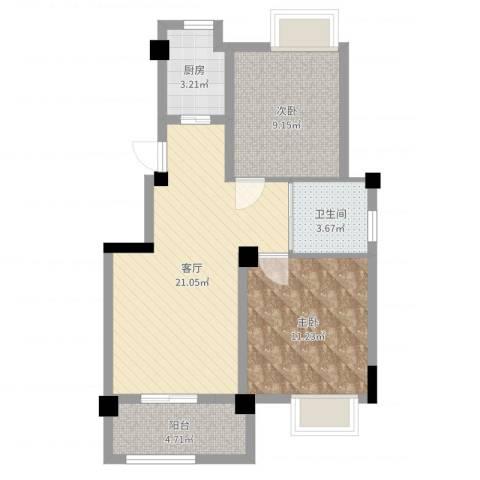 澳海胥江湾2室1厅1卫1厨66.00㎡户型图