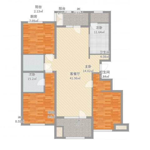 龙湖·香醍溪岸洋房3室2厅2卫1厨160.00㎡户型图