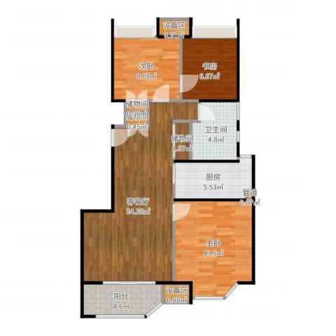 朗庭上郡苑3室2厅4卫1厨89.00㎡户型图