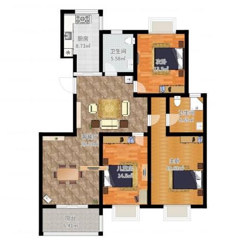 金地城三期御领3室2厅2卫1厨138.00㎡户型图