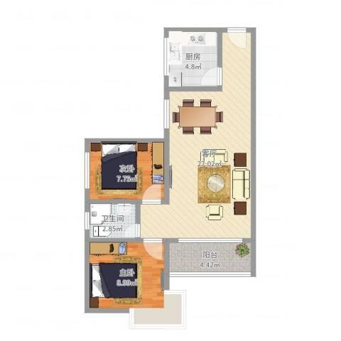 今日丽舍2室1厅1卫1厨55.83㎡户型图