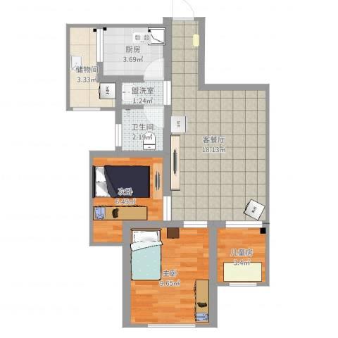 简爱城3室4厅1卫1厨60.00㎡户型图