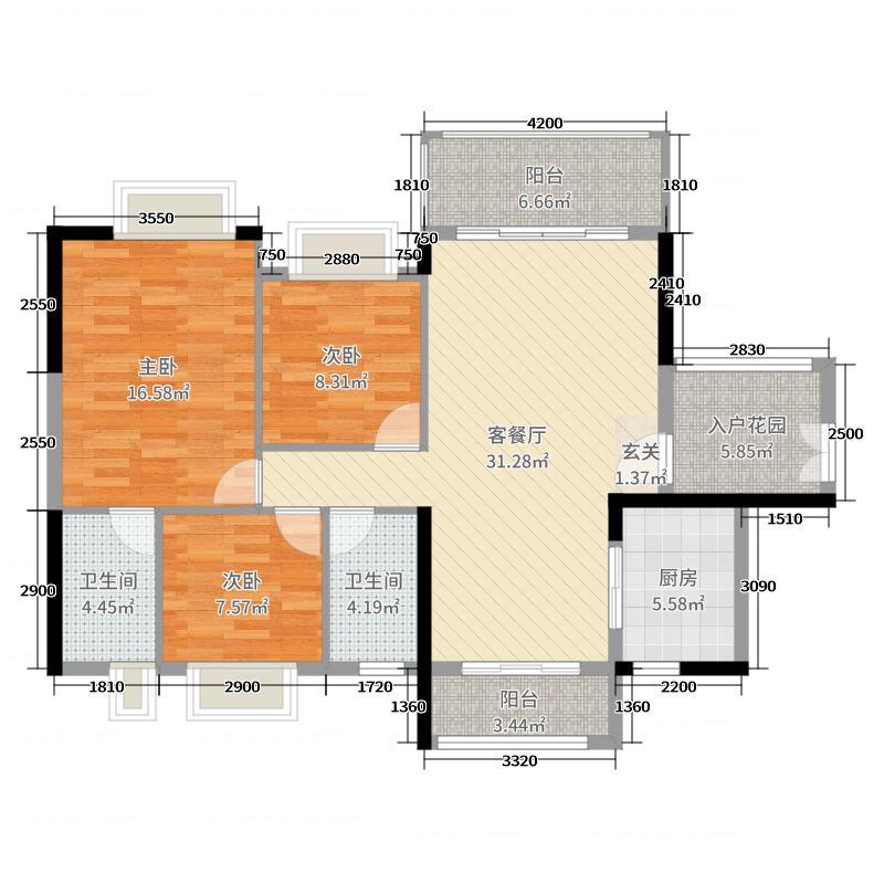丽丰棕榈彩虹121.00㎡6幢03户型3室3厅2卫1厨