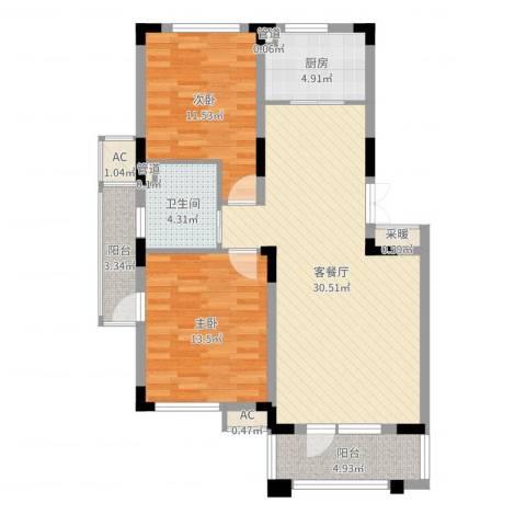 富奥新东区2室2厅1卫1厨94.00㎡户型图
