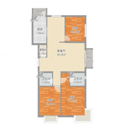 宏洋美都3室2厅2卫1厨125.00㎡户型图
